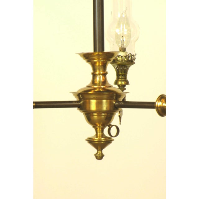 Aesthetic Movement Aesthetic Movement Three Light Brass Fixture With Glass Chimneys For Sale - Image 3 of 4