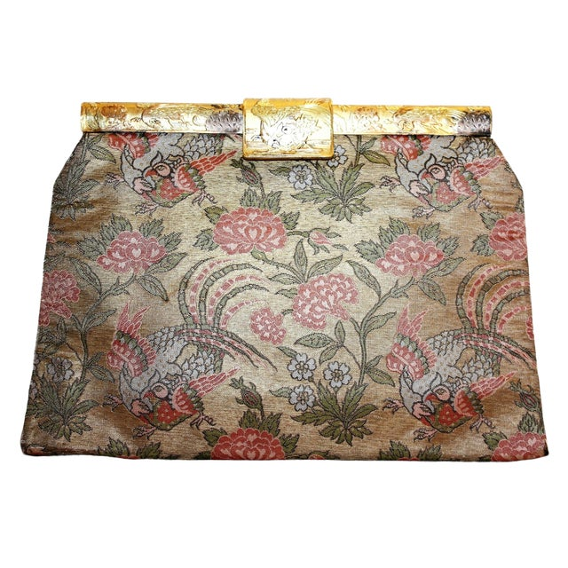 1930's French Bird Motif Brocade Purse With Matching Frame and Fabric For Sale
