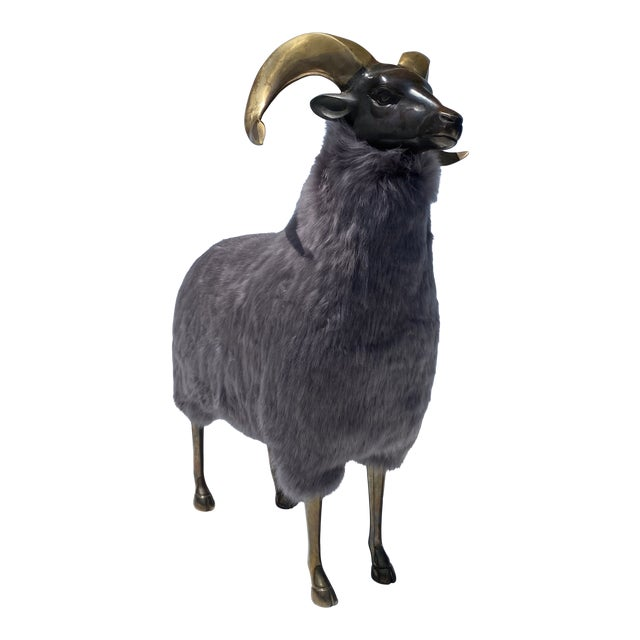Late 20th Century Brass Sheep Sculpture In the Style of Claude Lalanne For Sale