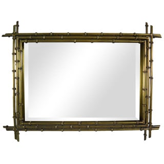 Faux Bamboo Shadowbox Mirror in Brass by C. Jere For Sale