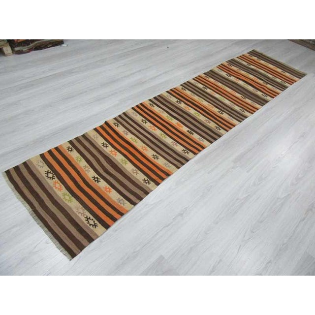 Striped Vintage Kilim Runner - 2′8″ × 11′3″ For Sale - Image 4 of 6
