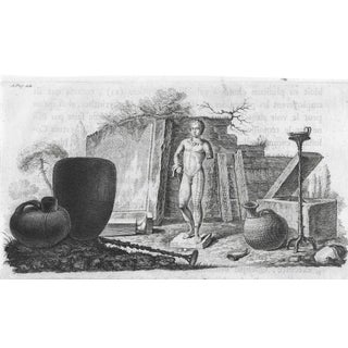 Roman Ruins Engraving With Vases, Urns, Oil Lamps and Sculpture For Sale