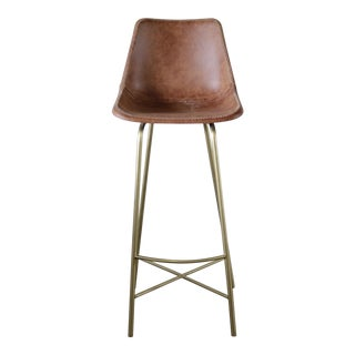 Contemprary Brown Imitation Leather and Fiberglass Barstool For Sale