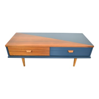 1960s Mid-Century Modern Blue Wooden Geometric Tv Stand For Sale
