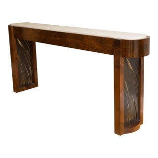 Burl Walnut, Leather and Patinated Steel Console Table by Gregory Clark