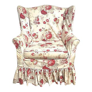 Vintage Custom Floral Slipcovered Wingback Chair