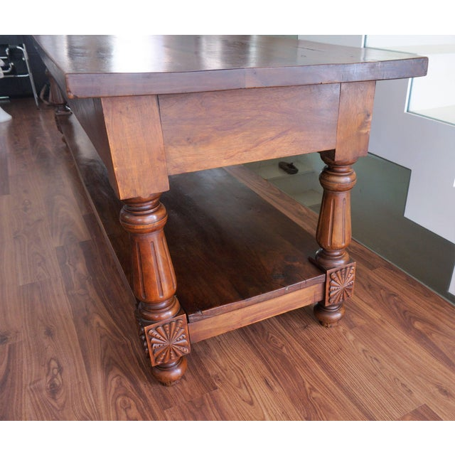 Large 19th Century Spanish Refectory Walnut Farm Draper´s Table or Console For Sale In Miami - Image 6 of 10