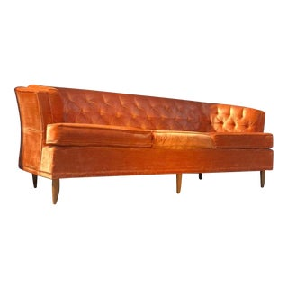 Vintage Mid Century Rose Gold Velvet Chesterfield Sofa For Sale