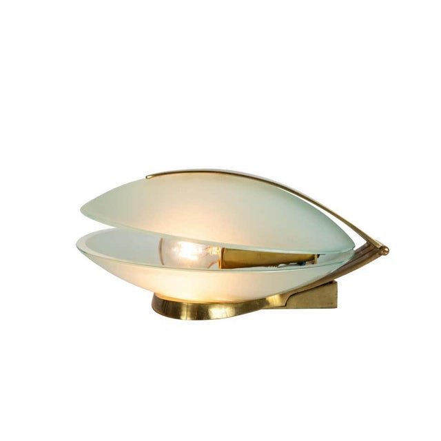 Max Ingrand Glass and Brass Shell Table Lamps for Fontana Arte, Circa 1960 For Sale In Los Angeles - Image 6 of 13