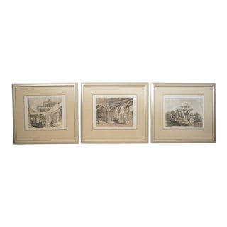 Antique 19c Prints of Temples in India - a Set of 3 For Sale