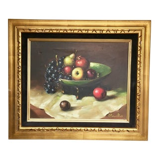Vintage Bowl of Fruit Still Life Oil Painting Signed by Artist For Sale