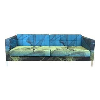 Modern Spirograph Textile Tuxedo Sofa For Sale