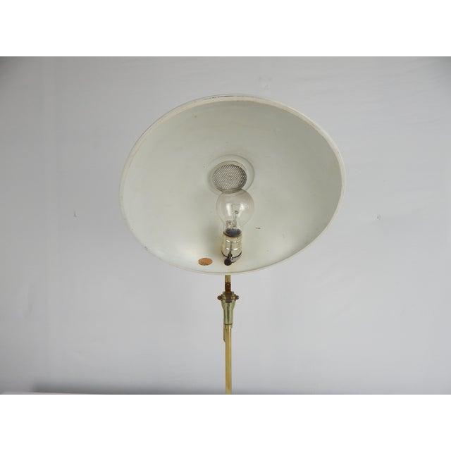Metal Mid-Century Saucer Desk Lamp on Brass Base For Sale - Image 7 of 9
