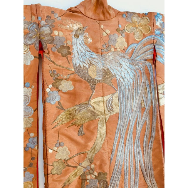 Vintage Brocade Japanese Ceremonial Kimono in Orange, Gold and Silver For Sale - Image 9 of 13