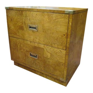 1960s Vintage Bernhardt Mid Century Modern Campaign Style Burled Olive Wood Nightstand For Sale