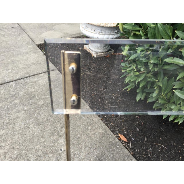 Metal Vintage French Acrylic Folding Chair With Brass Base, C.1970s For Sale - Image 7 of 11