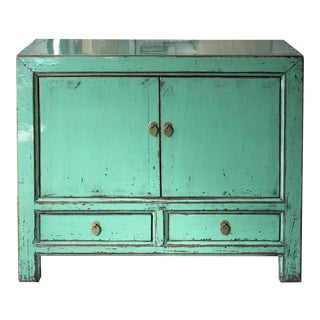 Turquoise Lacquer 2-Door Chest For Sale