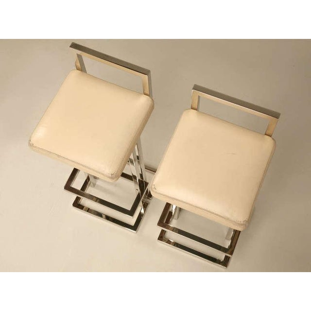 Circa 1970 Romeo Rega Chrome & Leather Bar Stools - A Pair For Sale In Chicago - Image 6 of 10