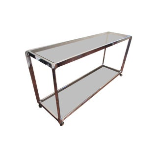 Italian Chrome & Smoked Glass Console Bar Cart