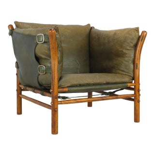 Arne Norell Ilona Green Leather Chair For Sale