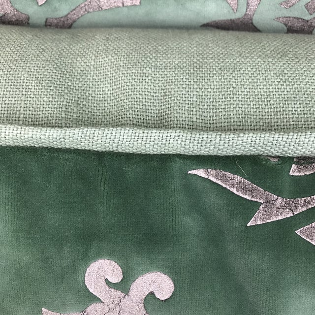 Silver Stenciled Green Velvet Pillows - A Pair - Image 6 of 7