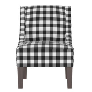 Swoop Arm Chair in Classic Gingham Black Oga For Sale