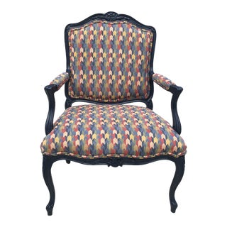 Vintage Blue French Bergere Chair For Sale