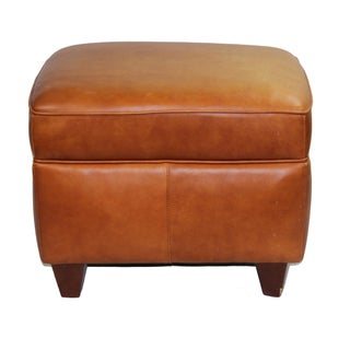 Pasargad N Y Hancock and Moore Leather Ottoman For Sale