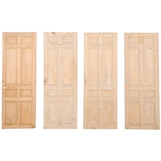 Set of Four French Single Light Wood Antique Doors From the 19th Century For Sale