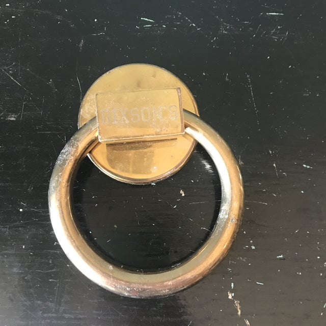 1970s Vintage Minimalist Brass Circle Door Knocker For Sale - Image 4 of 4