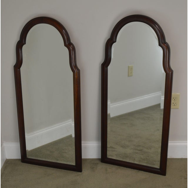 Traditional Hickory Chair Co. Pair Solid Mahogany Frame Arch Top Beveled Mirrors For Sale - Image 3 of 13