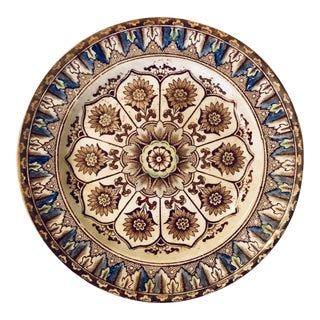 """Aesthetic Movement Brownfield & Son Sunflowers """"Cyprus"""" Pattern Transferware Plate For Sale"""