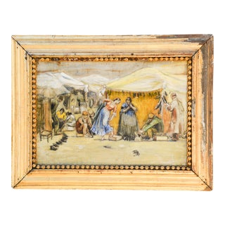 Antique Spanish Market Painting For Sale