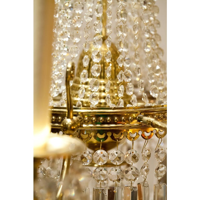 Brass and Crystal Gasolier For Sale In Washington DC - Image 6 of 13