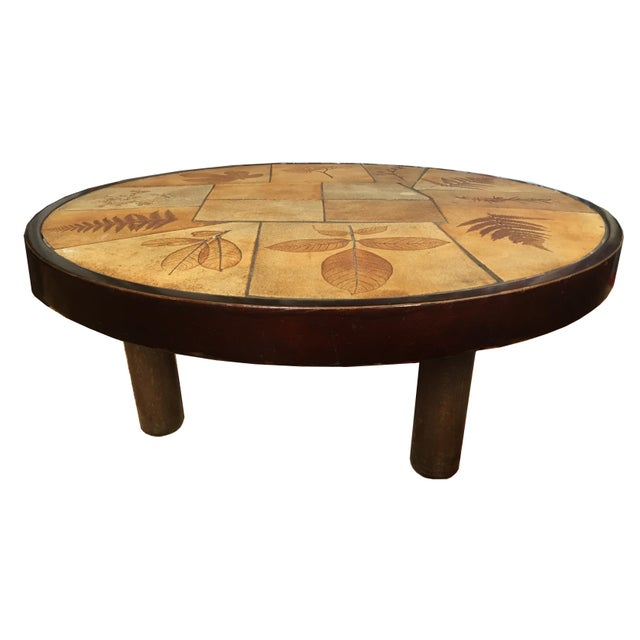 Signed 1960s Coffee Table by Raymonde Leduc with Leaf Motif For Sale In Los Angeles - Image 6 of 7