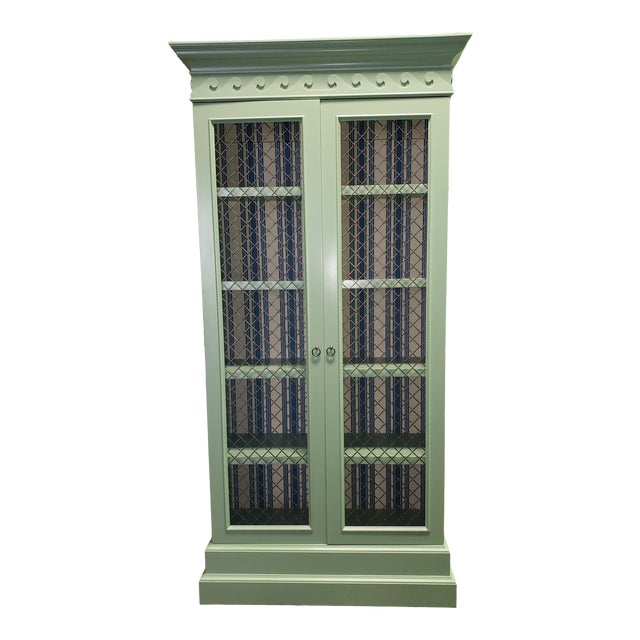 Traditional Green Painted Bookcase For Sale