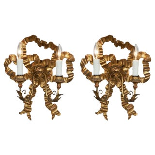 Antique Louis XVI Style Gold Bow Sconces For Sale