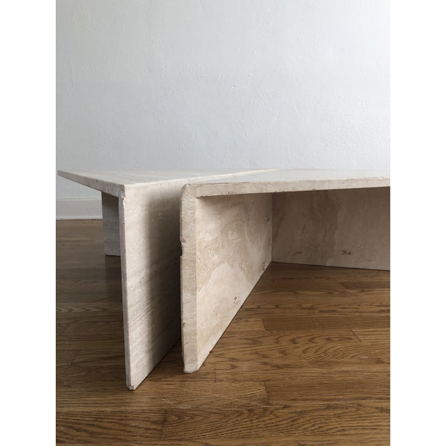 Contemporary Vintage Travertine Stone Triangle Coffee Table - 2 Pieces For Sale - Image 3 of 13