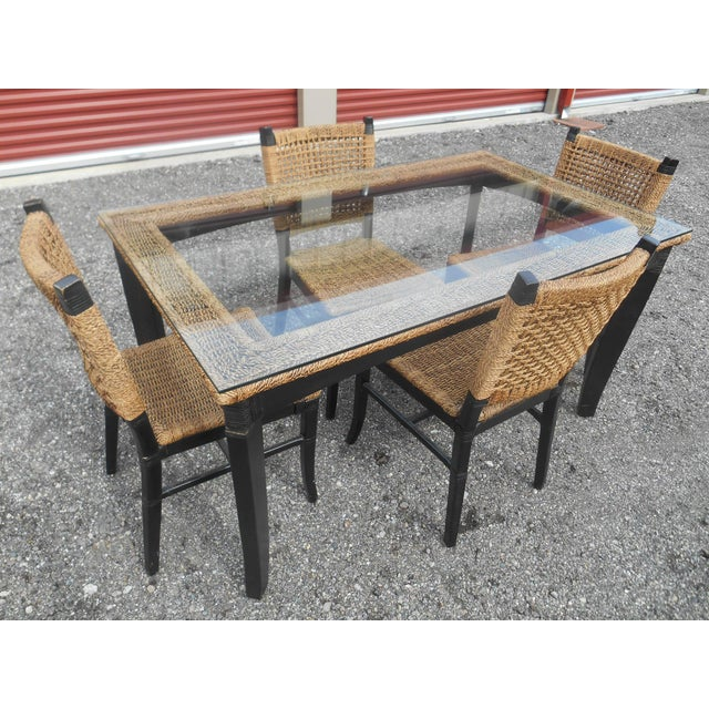Wood Tommy Bahama Woven Cord Dining Set - 5 Pieces For Sale - Image 7 of 7