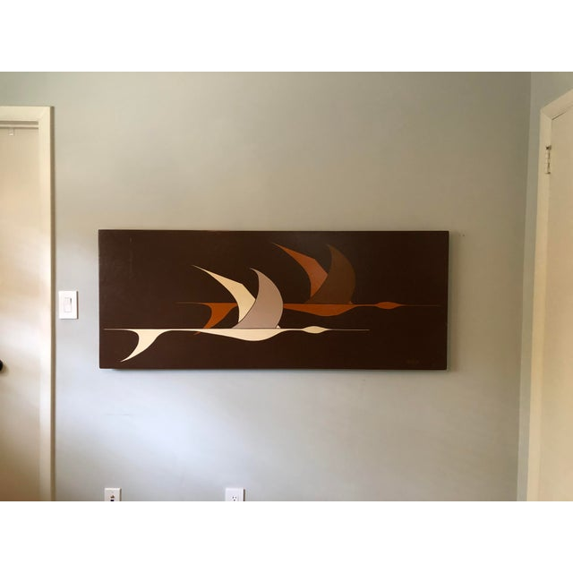 Large Midcentury Painting of Flying Geese For Sale - Image 10 of 11