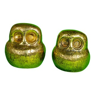 Mid Century Bitossi Style Brass Owls For Sale