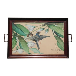 Hand-Painted Bird Tray For Sale