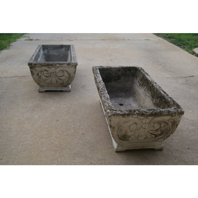 Italian Antique Footed Concrete Rococo Style Planters - a Pair For Sale - Image 3 of 7