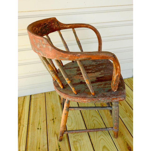 Cabin Antique Rustic Painted Saloon Chair For Sale - Image 3 of 8
