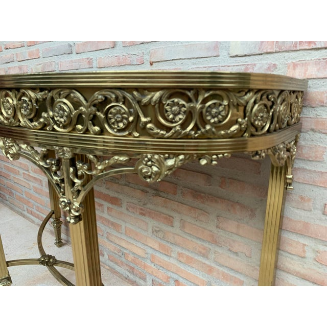 1940s French Bronze Kidney Mirrored Dressing Table or Vanity With One Drawer For Sale - Image 5 of 9