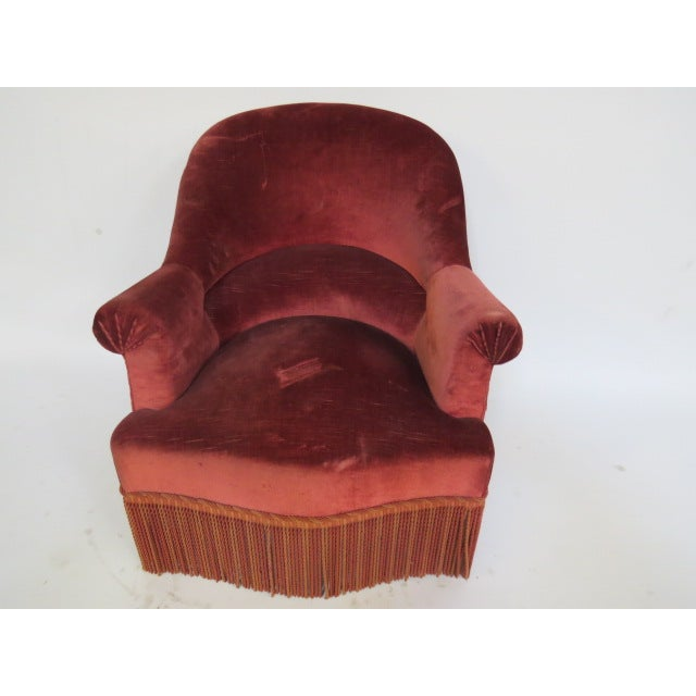 Vintage 1940s Crimson Red Slipper Chair - Image 2 of 5