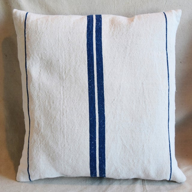 """Boho Chic French Blue Striped Grain-Sack Feather/Down Pillows 20"""" Square- Pair For Sale - Image 3 of 11"""