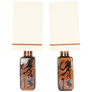 """Carl Harry Stalhane for Rörstrand Ab """"Sultan"""" Table Lamps With Shades - a Pair For Sale"""