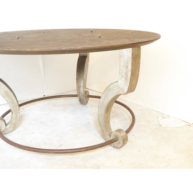 Metal Vintage Italian Inlay White Marble Coffee Table For Sale - Image 7 of 8