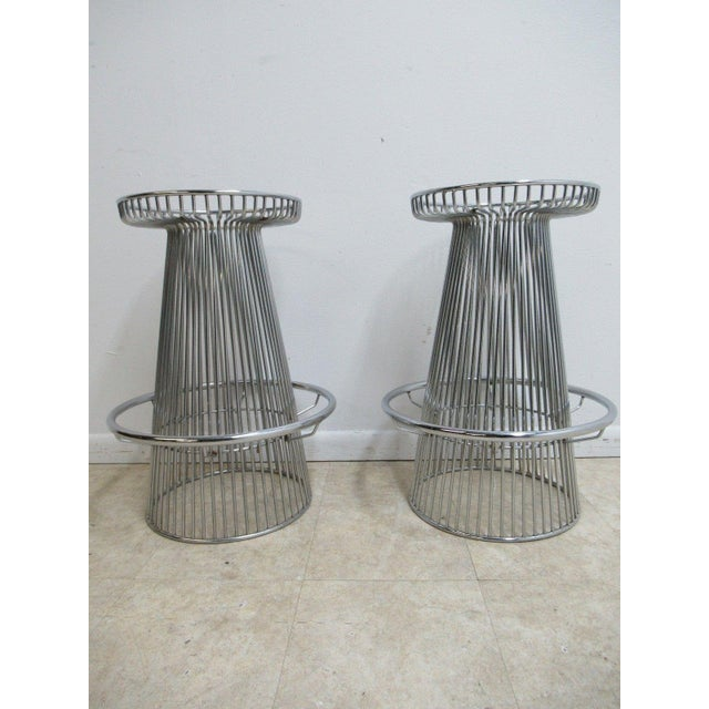 Vintage Chrome Wire Cone Bar Stools - A Pair - Image 9 of 11